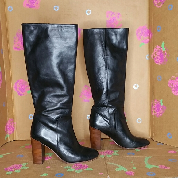 Black Leather Tall Boots High Heel